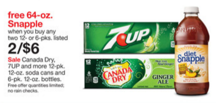 Target 7UP and Free Snapple offer