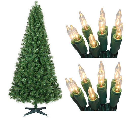 Target: 6 Foot Artificial Spruce Christmas Tree AND 2 Packages of Lights