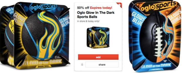 Target Cartwheel 50% Off Oglo Glow In The Dark Sports Balls