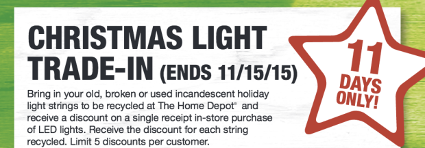 Home Depot: Christmas Light Trade-In Event Starts Today