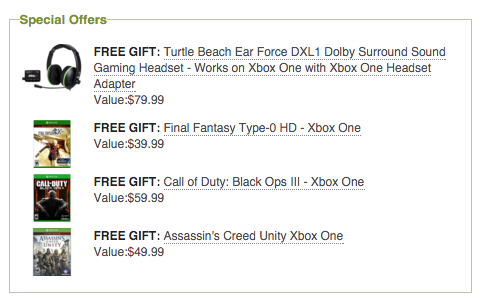 Free Gifts With Microsoft Xbox One Gears of War: Ultimate Edition 500GB Bundle Purchase