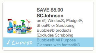 $5/5 SC Johnson products coupon