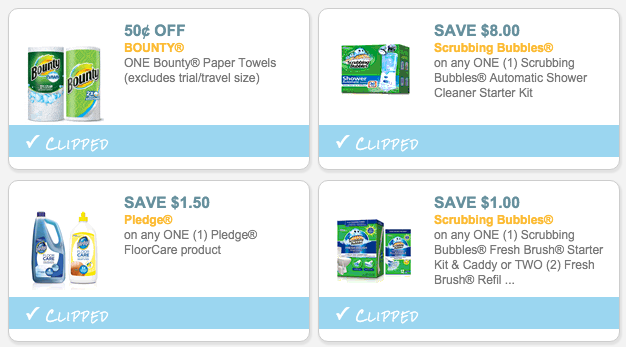 Bounty, Pledge and Scrubbing Bubbles Coupons