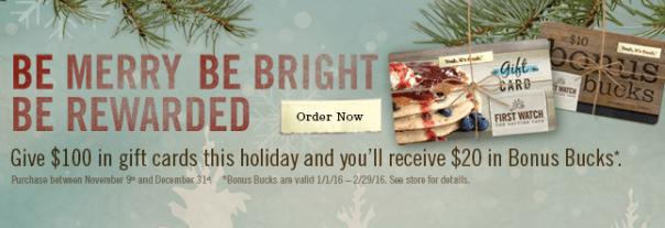 First Watch Gift Card offer 2015