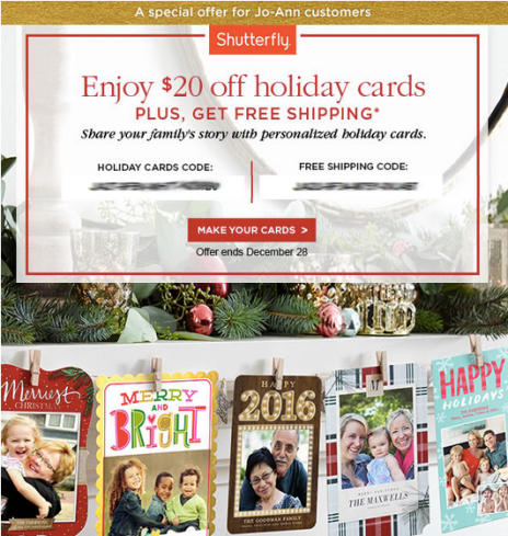 JoAnn Email Subscribers: Possible FREE $20 Off Shutterfly Holiday Cards Offer + Free Shipping