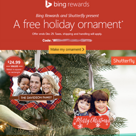 Bing Rewards Members: Possible FREE Photo Ornament From Shutterfly (Check Your Inbox)