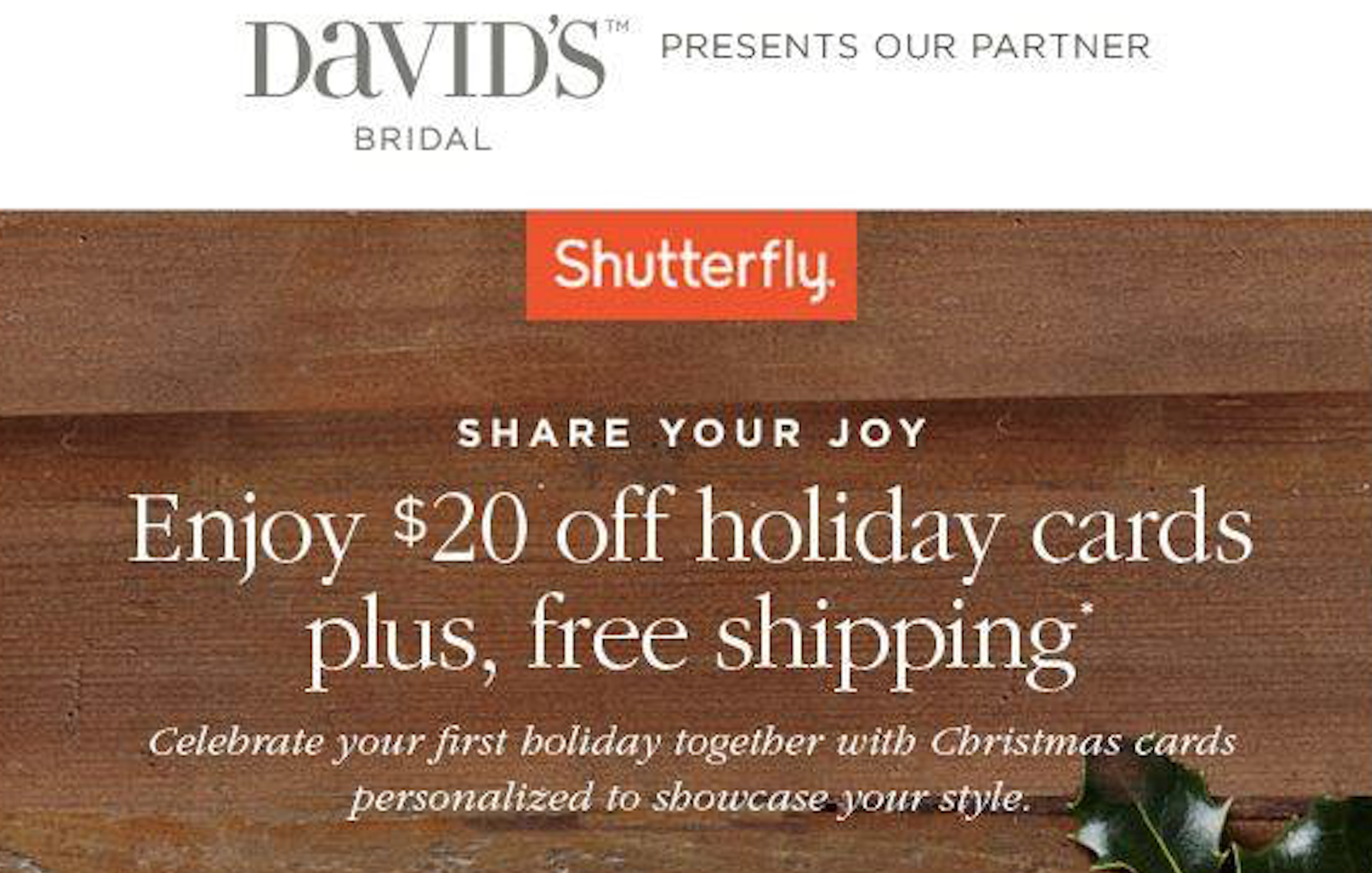 David 39 S Bridal Subscribers Possible 20 Off Holiday Cards At Shutterfly Free Shipping Hip2save