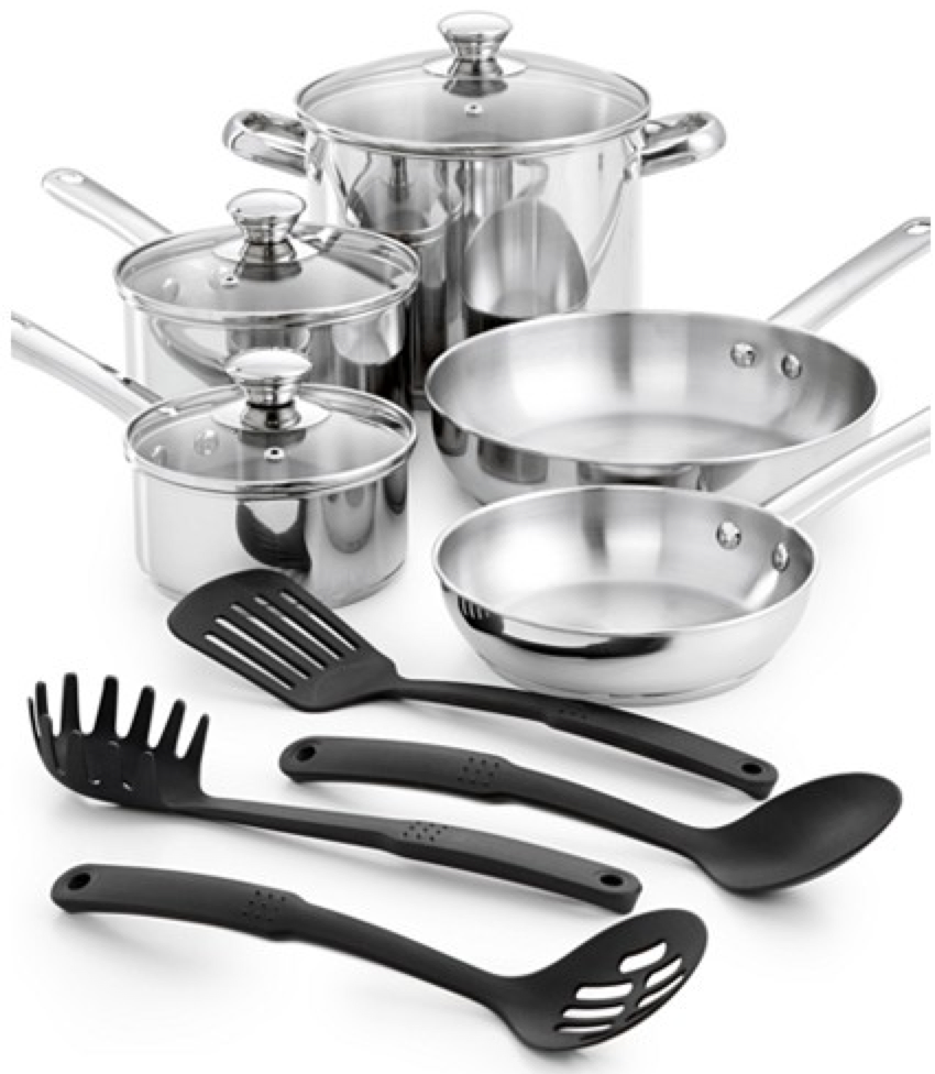 Macys Stainless Steel 12 Piece Cookware Set Only 29 99 Shipped