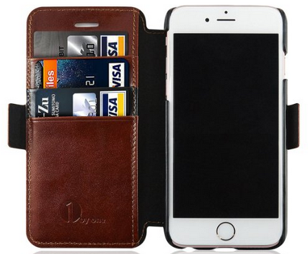 Amazon: Genuine Leather iPhone 6 Case w/ Protective Flip Wallet