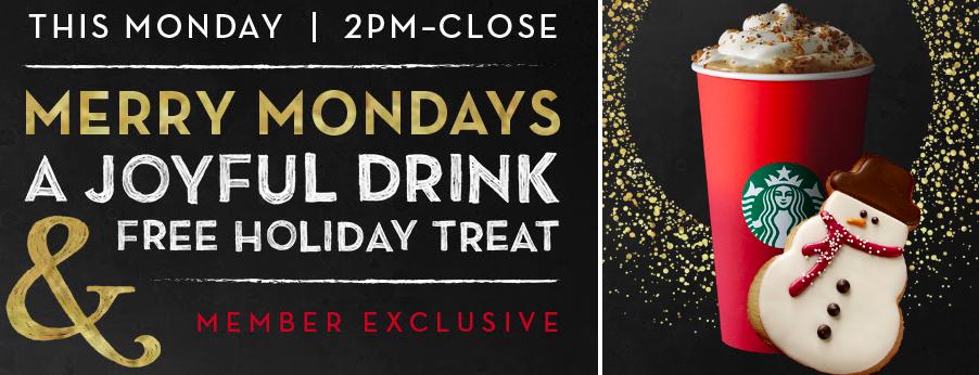 Starbucks Rewards Members: Free Holiday Treat w/ Holiday Beverage Purchase