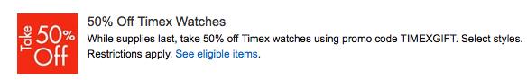 Timex 50% Off Promo