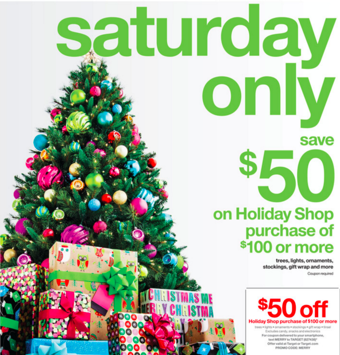 target 50 off 100 holiday shop purchase in store online starts at midnight pst hip2save