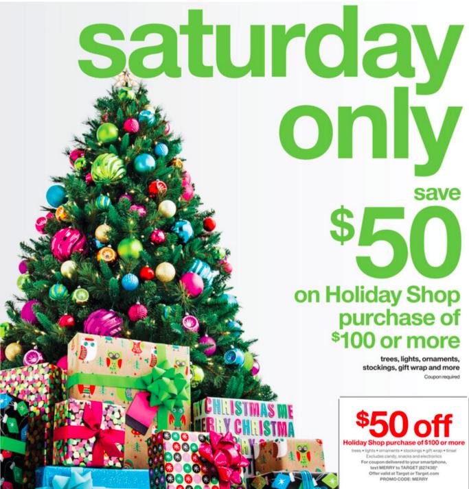 Target: $50 Off $100+ Holiday Shop