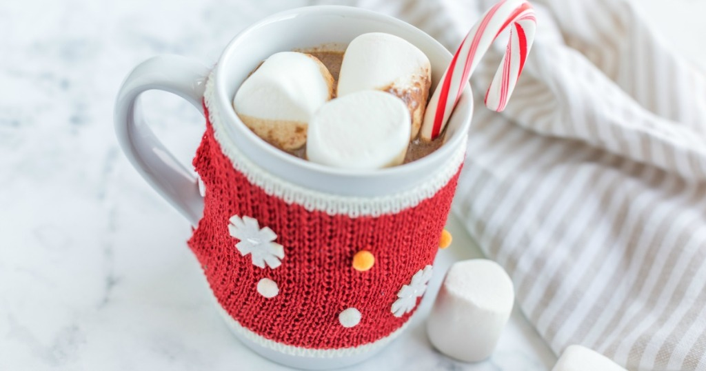 cup of crock pot hot chocolate in a mug with marshmallows