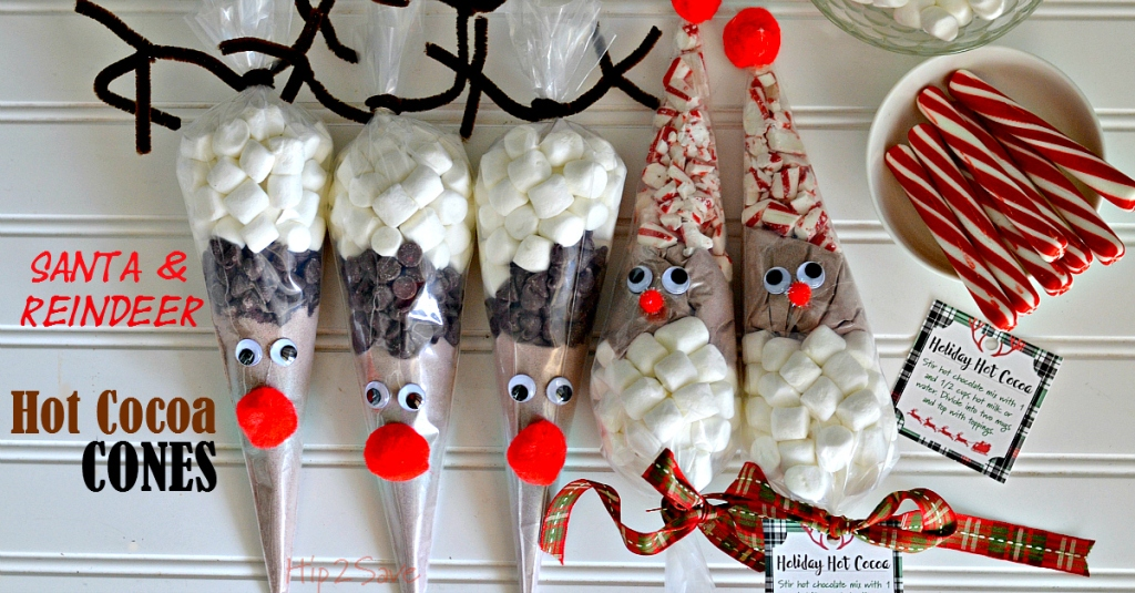 Santa and Reindeer Hot Cocoa Cones by Hip2Save