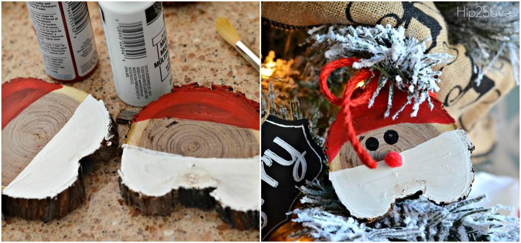 Santa Painted Sliced Wood Ornament