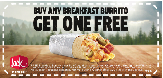 Jack In The Box Buy 1 Get 1 Free Breakfast Burrito Coupon Hip2save