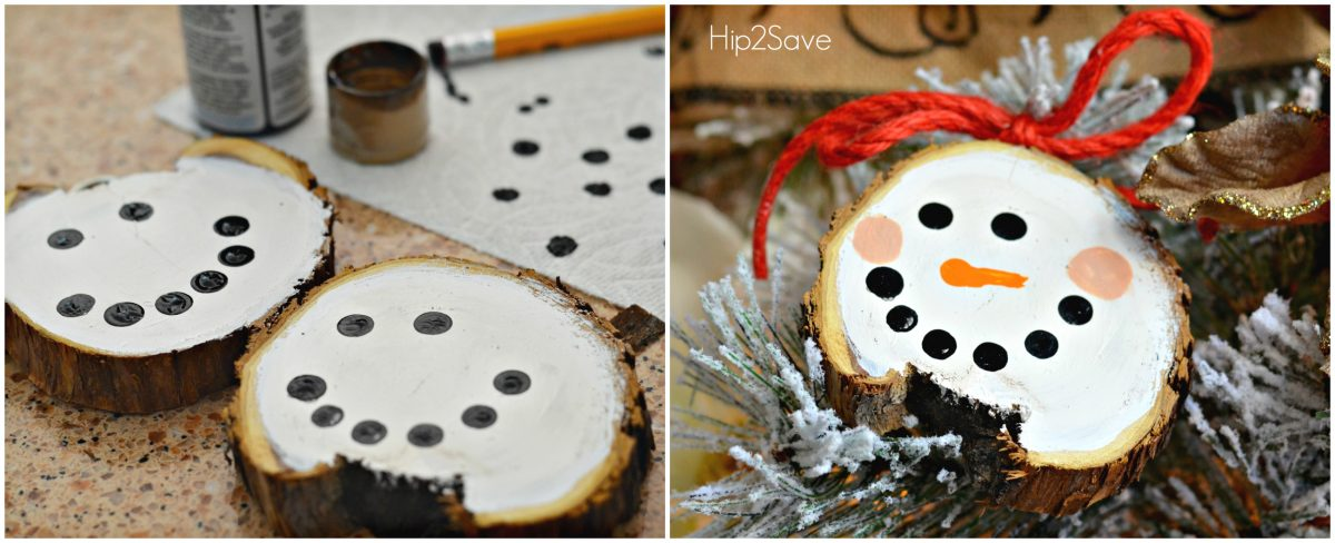 Snowman Painted Sliced Wood Christmas Ornaments