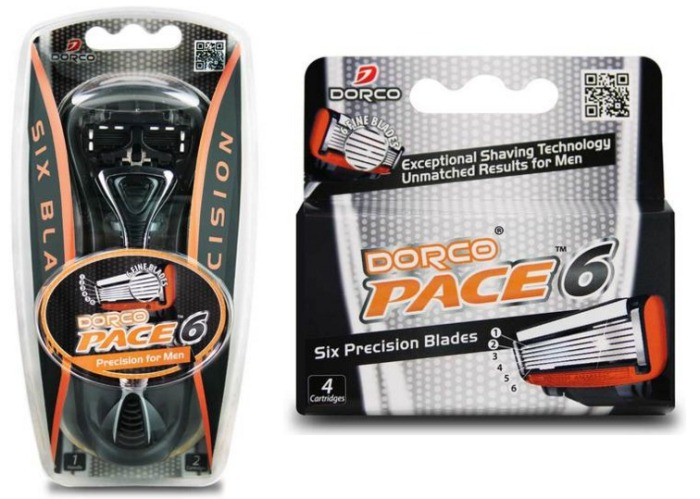 Dorco Pace 6 Razor and Cartridges