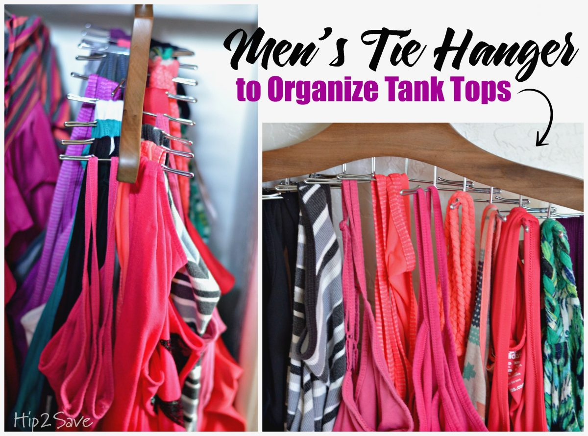 Easy way to organize tank tops with a tie hanger by Hip2Save.com