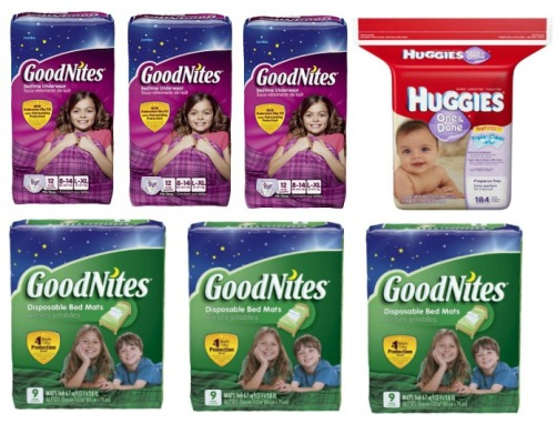 GoodNites Underwear, Bed Mats and Huggies Wipes