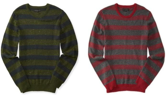 Herringbone Stripe Crew Neck Sweater