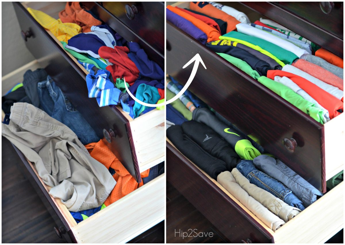 before and after of messy drawers