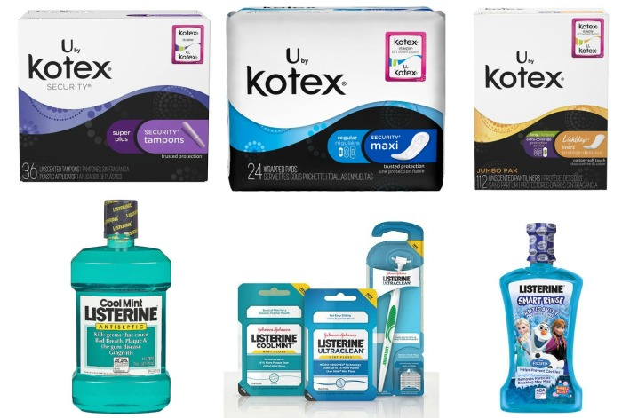Kotex and Listerine products