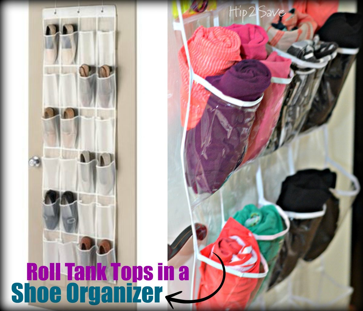 Roll Tank Tops in a Shoe Organizer Hip2Save.com