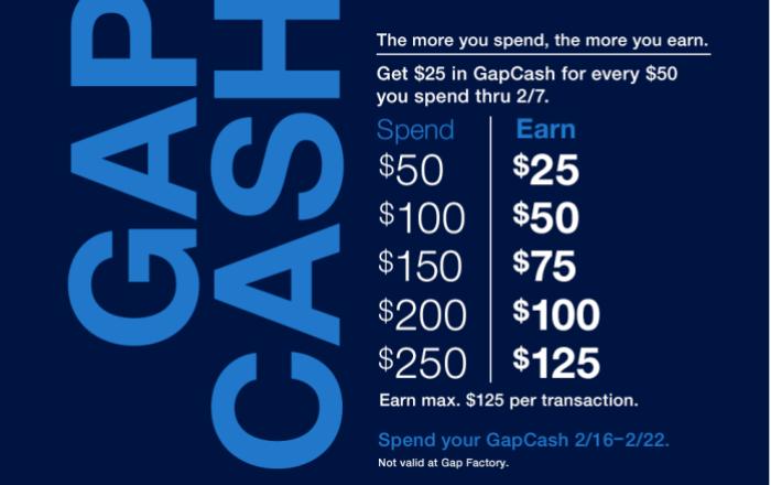 Gap Cash promo