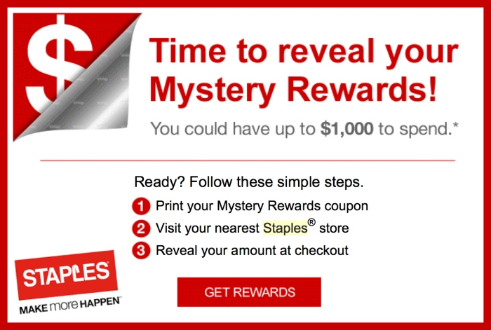staples rewards members  check inbox for mystery rewards certificate worth up to  1 000  in