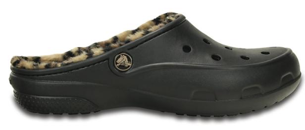 Women's Crocs Freesail Leopard Fuzz Lined Clog