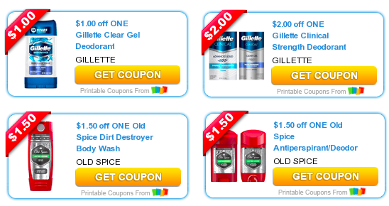 Old Spice Gillette Coupons