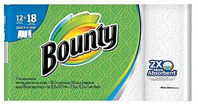 Bounty Select-A-Size Giant Roll Paper Towels, 2-Ply, 12 Roll Case
