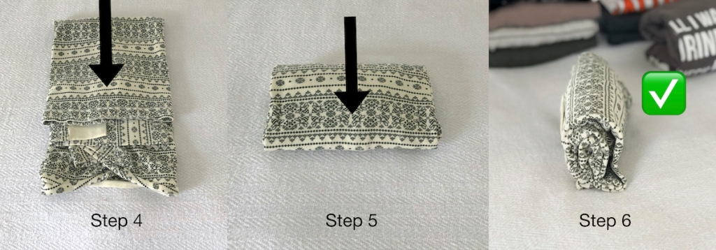 steps to fold a green and white shirt