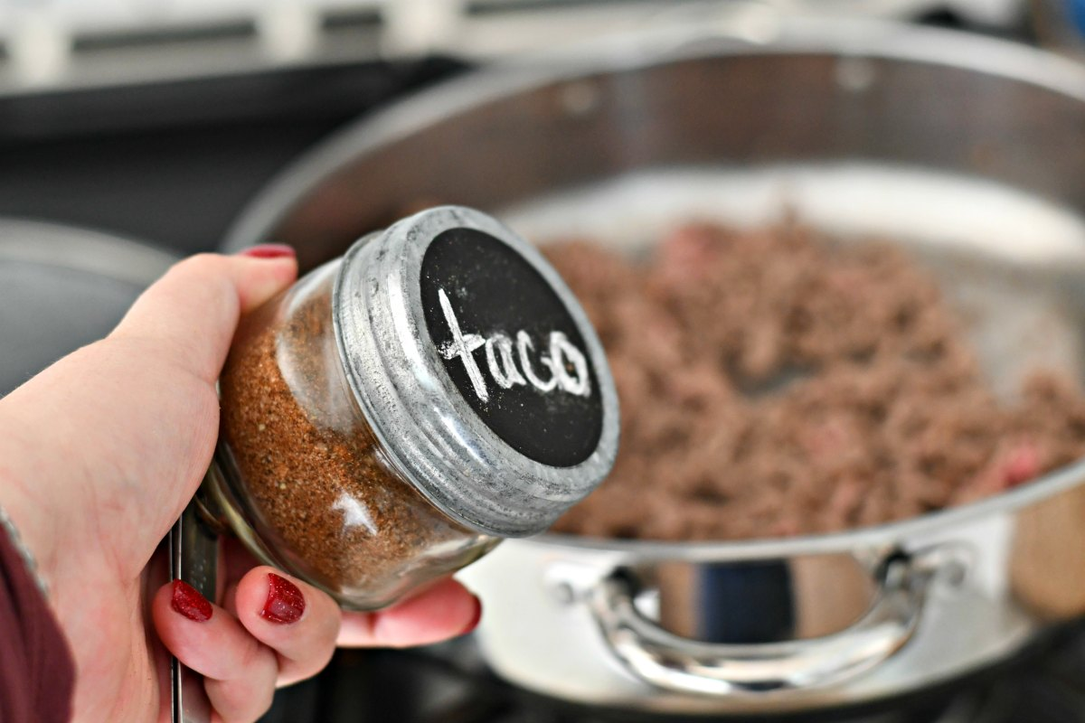 homemade taco seasoning recipe – in a jar, ready to add to hamburger