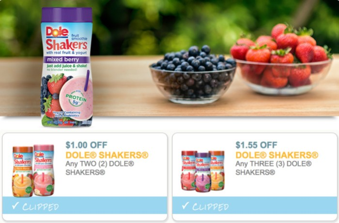 Two New Dole Fruit Smoothie Shakers Coupons Only 98 Each At