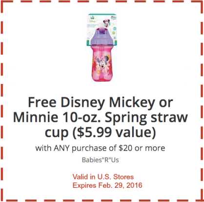 Babiesrus Free Disney Mickey Or Minnie Cup With 20