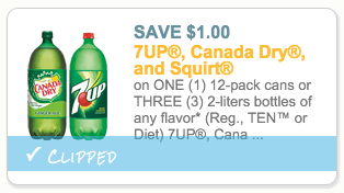 7Up, Canada Dry and Squirt coupon