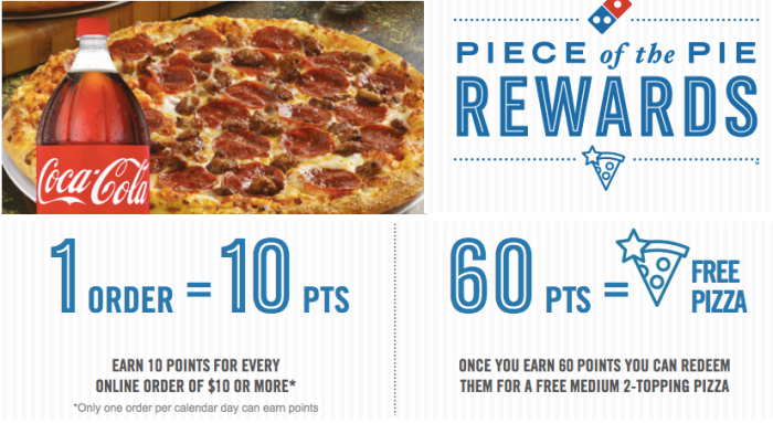 Domino S Rewards Program Earn Free Pizza W Online Orders 1 518 Win 10 Gift Cards Hip2save