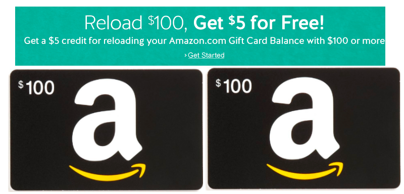 Amazon Free 5 Credit With 100 Amazon Gift Card Reload Select