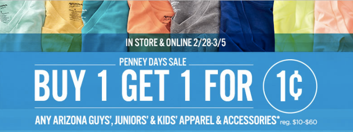 b78522cd5b9 JCPenney  Buy 1 Get 1 For 1¢ Arizona Apparel   Accessories   Arizona ...