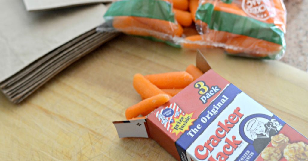 carrots coming out of Cracker Jack box