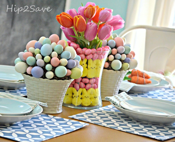 Easter Table with DIY Peeps Centerpiece