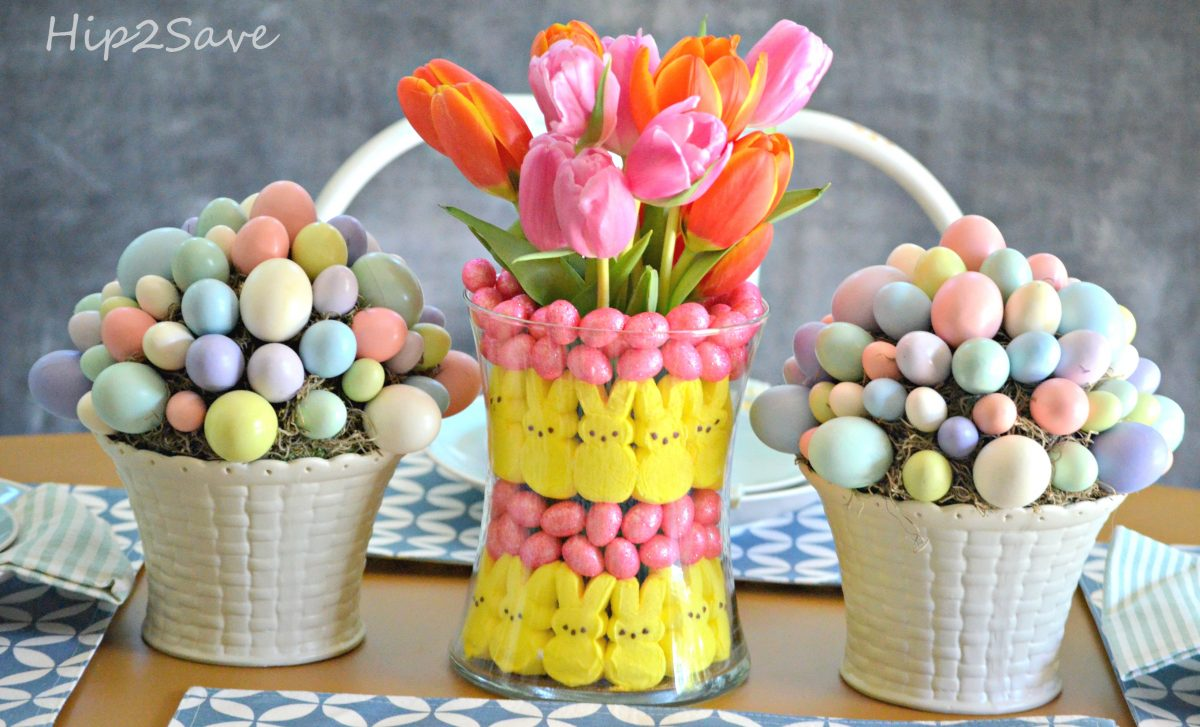Easter peeps centerpiece table craft idea
