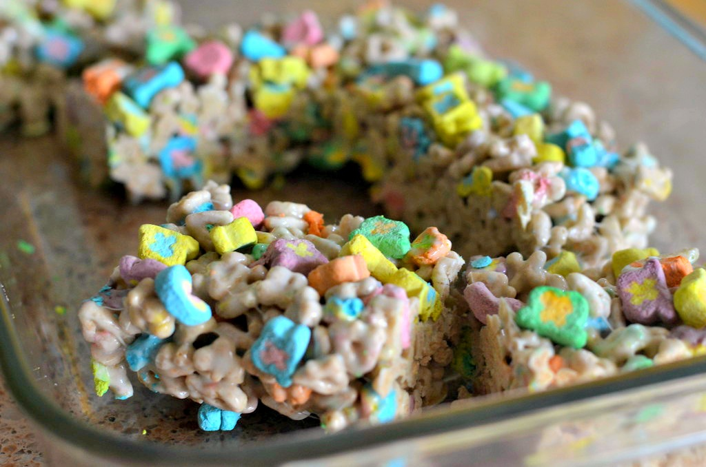 lucky charms marshmallow treats in the pan