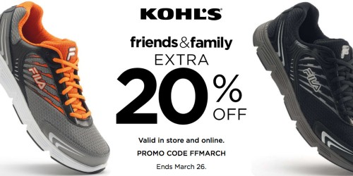 Kohl's.com: Extra 20% Off Purchase = Men's FILA Running Shoes Only $25.99 (Reg. $64.99) + More