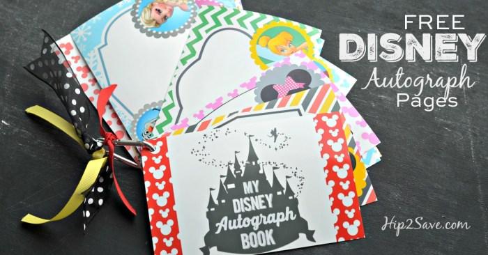 Free Disney Autograph Pages Hip2Save.com