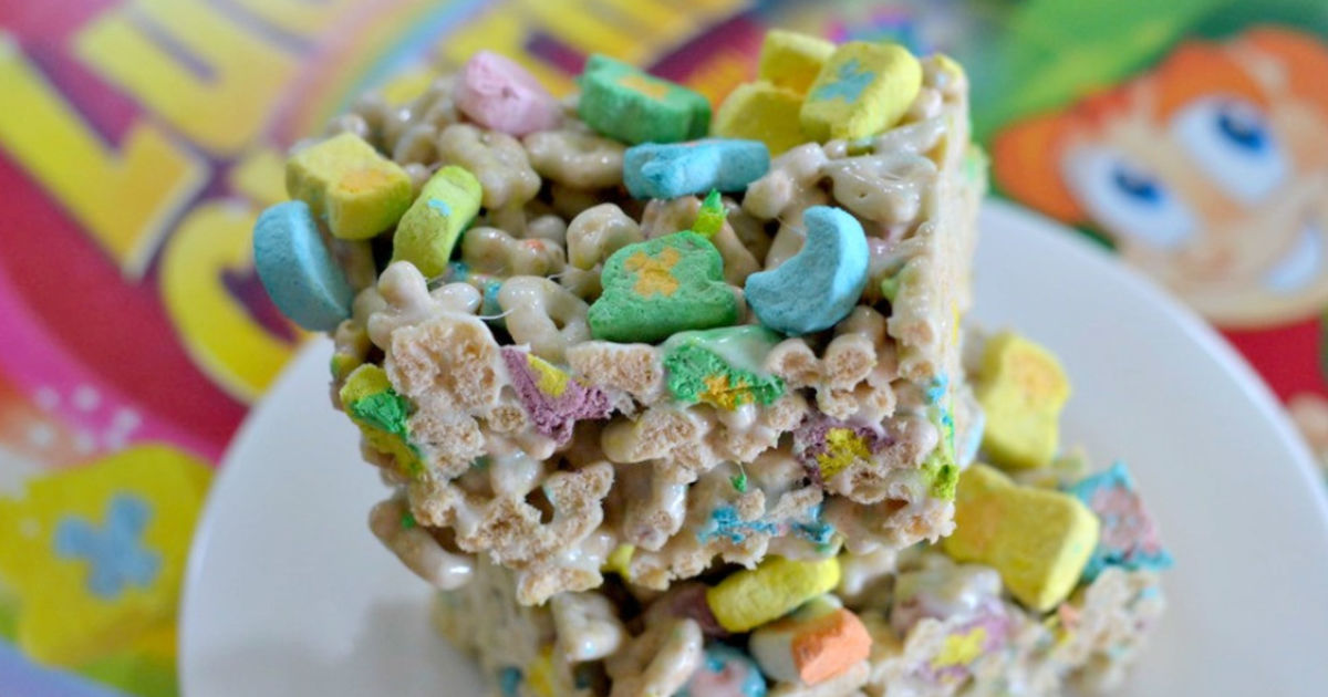 lucky charms marshmallow treats on a plate