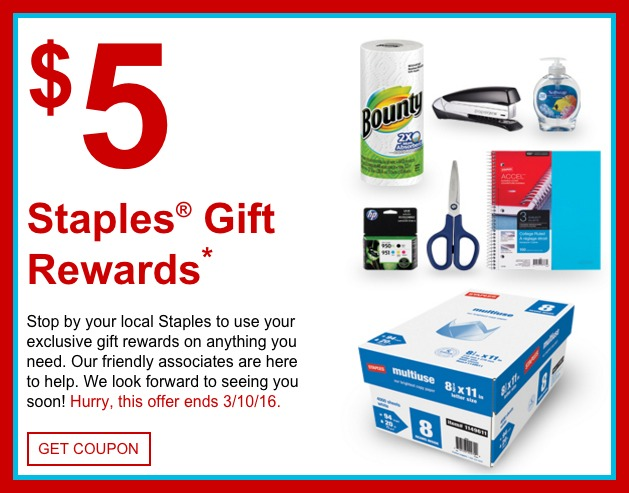 staples rewards members  possible free  5 gift reward valid in-store only  check inbox